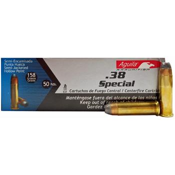 38 Special 158gr SJHP Aguila Ammo | 50 Round Box