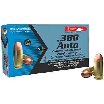 380 Auto [ACP] 95gr FMJ Aguila Ammo | 50 Round Box