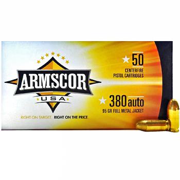 380 Auto [ACP] 95gr FMJ Armscor Ammo   1000 Round Case