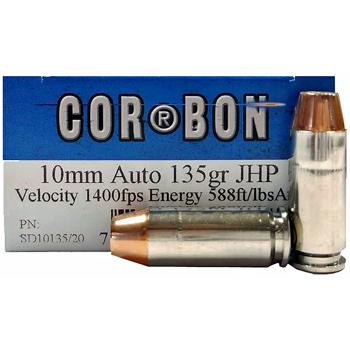 10mm Auto 135gr JHP Corbon Ammo   20 Round Box