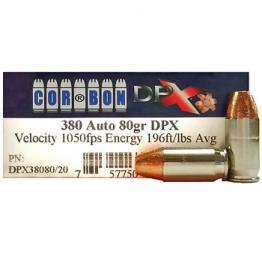 380 Auto [ACP] 80gr HP Corbon DPX Ammo | 20 Round Box