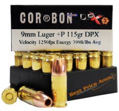 9mm Luger [9x19mm] 115gr +P DPX Corbon Ammo | 20rd Box