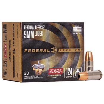 9mm Luger [9x19mm] 124gr Hydra-Shok JHP Federal Premium Personal Defense Ammo | 20 Round Box