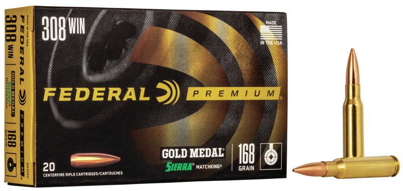 308 Win (7.62x51mm) 168gr BTHP Federal Gold Medal Match Ammo [20 rd Box]