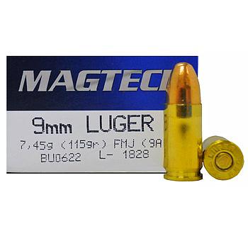 9mm Luger [9x19mm] 115gr FMJ Magtech Ammo | 1000 Round Case