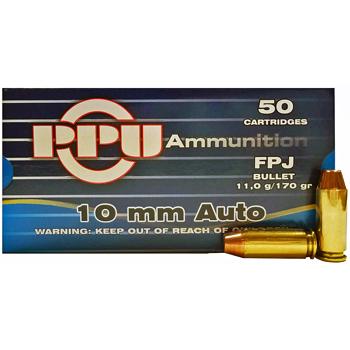 10mm Auto 170gr FPJ PPU Ammo | 50 Round Box