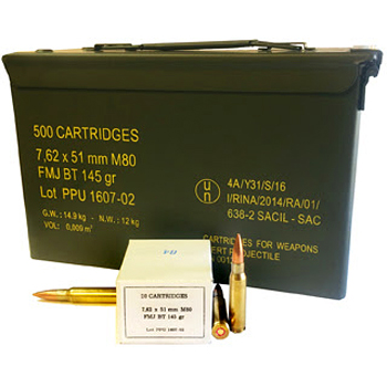 308 Win [7.62x51mm] M80 145gr FMJBT PPU Ammo | 500 Rounds + 50-Cal Ammo Can