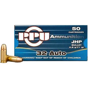 32 ACP [Auto] 71gr JHP PPU Ammo   50 Round Box