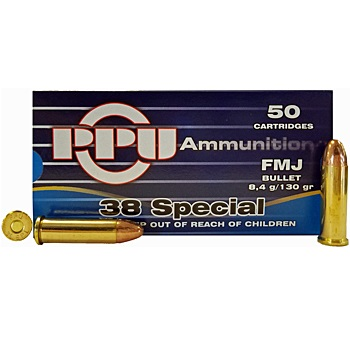 38 Special 130gr FMJ PPU Ammo | 50 Round Box