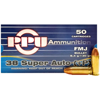 38 Super Auto +P 130gr FMJ PPU Ammo | 50 Round Box