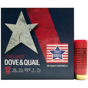 "12 GA 2-3/4"" Lead Shot Dove & Quail #7-1/2 Bird Shot (1oz) Stars and Stripes Ammo 