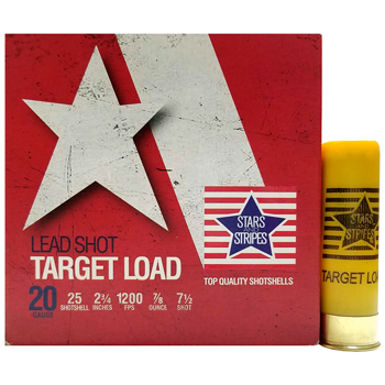 "20 GA 2-3/4"" Lead Shot Target Load #7-1/2 Target Shot (7/8 oz) Stars and Stripes Ammo 