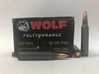 Buy this 223 Remington [5.56x45mm] 62 gr FMJ Ammo Wolf WPA ammo for sale