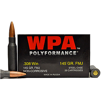308 Win [7.62x51mm] 145gr FMJ Wolf WPA Polyformance Ammo | 500 Round Case