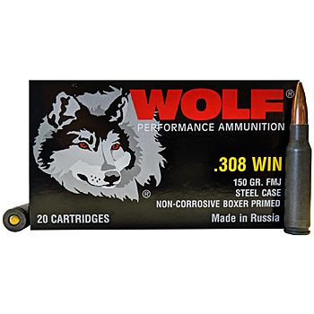 308 Winchester [7.62x51mm] 150gr FMJ Wolf Performance Ammo | 20 Round Box