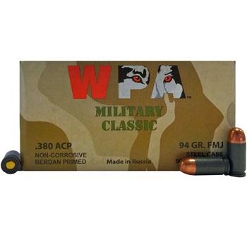 380 Auto [ACP] 94gr FMJ Wolf Military Classic Ammo   50 Round Box