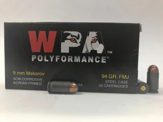 Buy This  9mm Makarov [9x18mm] 94 gr FMJ Wolf Polyformance Ammo | 50 Round Box for Sale