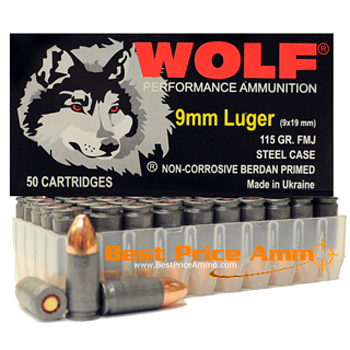 9mm Luger [9x19mm] 115gr FMJ Wolf Performance Ammo | 50 Round Box
