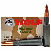 7.62x54R 148gr FMJ Wolf Military Classic Ammo | 20 Round Box