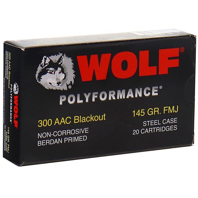 300 AAC Blackout 145gr FMJ Wolf Polyformance Ammo  | 20 Round Box