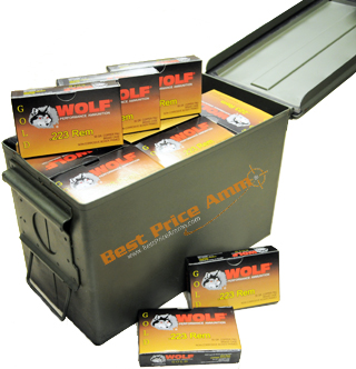 Wolf Gold 223 Ammo in a 50 Cal Ammo Can