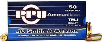 Buy This 40 S&W 180gr TMJ PPU Ammo for Sale